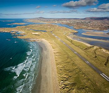 Aerial view Carrickfinn beach and Bunbeg  by Owen Clarke